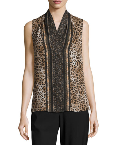 Leopard-Print Sleeveless Silk Blouse, Almond Cream