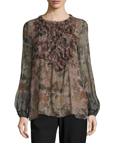 Ashton Bishop-Sleeve Floral-Print Silk Blouse, Golden Mist
