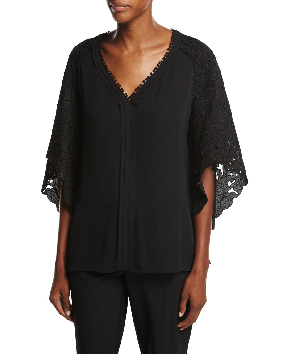 Marielle Embellished Batwing-Sleeve Blouse, Black