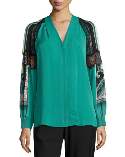 Raine V-Neck Silk Blouse w/ Lacy Printed Sleeves, Jade Multi