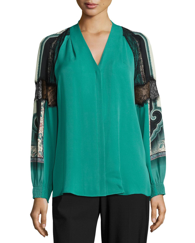 Raine V-Neck Silk Blouse w/ Lacy Printed Sleeves, Jade Multi