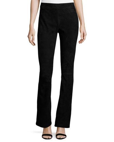 Laci Stretch-Suede Pants, Black