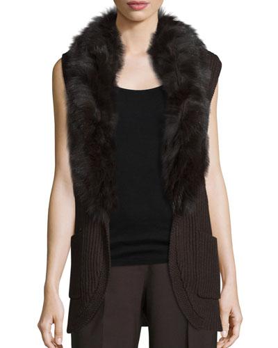 Kyla Fur-Trim Belted Sweater Vest, Chocolate