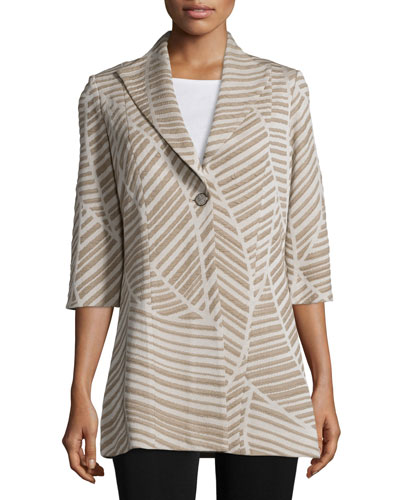 Natural Lines One-Button Jacket, Almond Beige