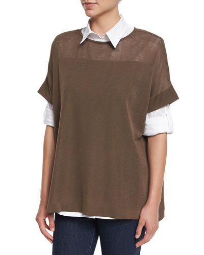 Short-Sleeve Side-Button Tunic, Petite