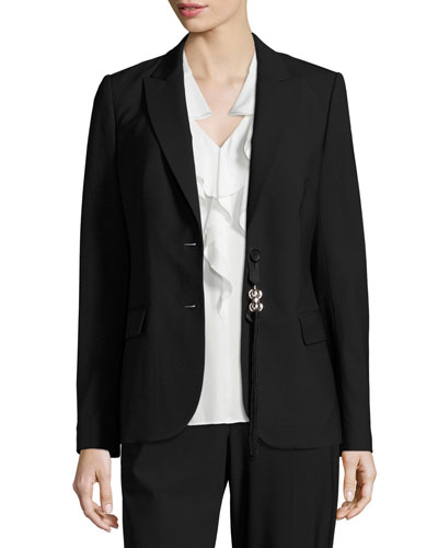 Sloane Tropical Wool Blazer, Black
