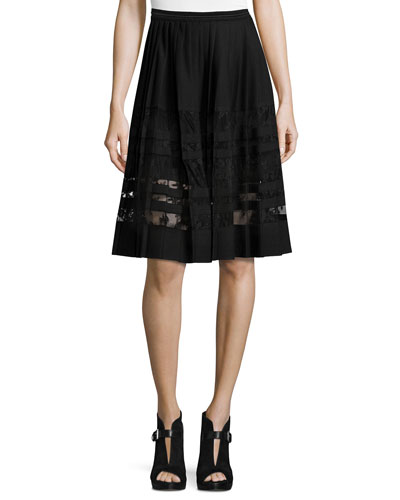 Frances Pleated Lace-Paneled A-Line Skirt, Black