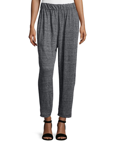 Speckle Knit Slouchy Ankle Pants, Graphite