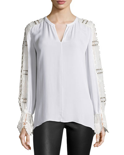 Carmella Beaded Lace-Trimmed Silk Blouse, White