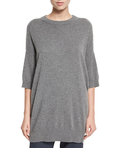 Slouchy Half-Sleeve Cashmere Sweater, Heather Stone