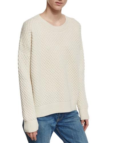 Crewneck Honeycomb-Knit Sweater, Winter White