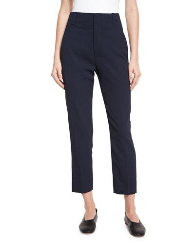 Cropped High-Waist Pants, Coastal Blue