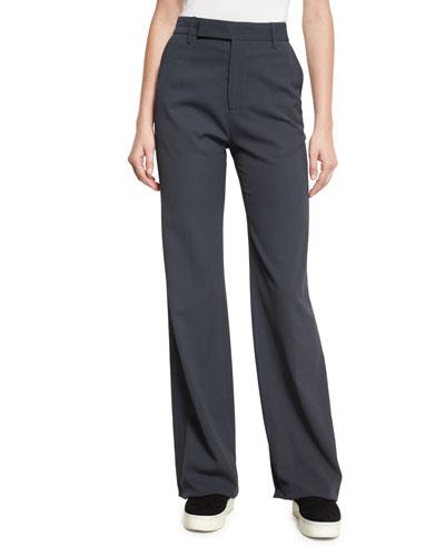 High-Waist Wide-Leg Pants, Dark Gray