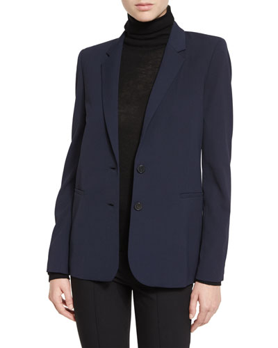 Woven Two-Button Jacket, Coastal Blue
