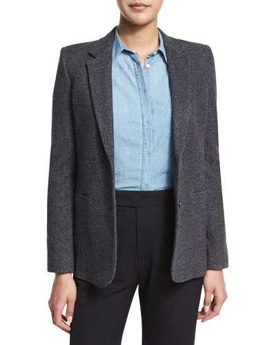 Wool-Blend Two-Button Blazer, Charcoal
