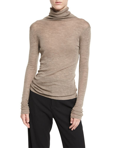 Cowl Turtleneck Knit Sweater, Coffee