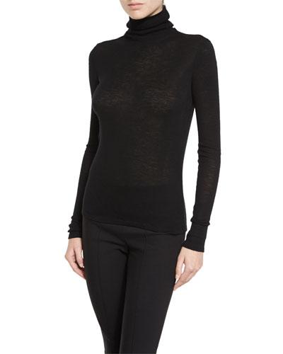 Cowl Turtleneck Knit Sweater, Black
