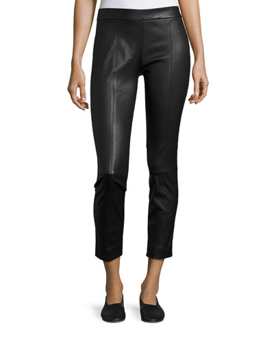 Stitch-Front Leather Leggings, Black