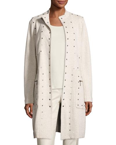 Studded-Up Long Jacket, Rainy Day, Petite
