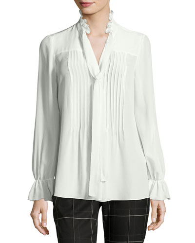 Everette Pintucked Tie-Neck Silk Blouse