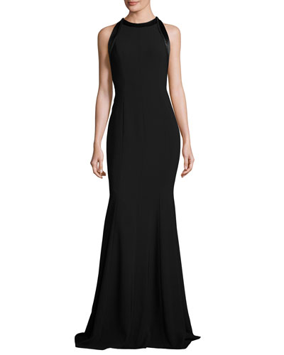 Sleeveless Cutout Crepe Mermaid Gown, Black