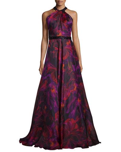 Sleeveless Floral Silk Organza Gown, Magenta