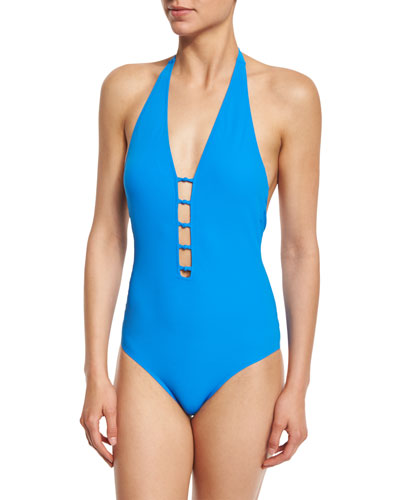 Solid Plunging One-Piece Swimsuit, Pool Blue