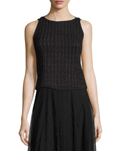 Nightscape Ribbed Sleeveless Top, Black Onyx