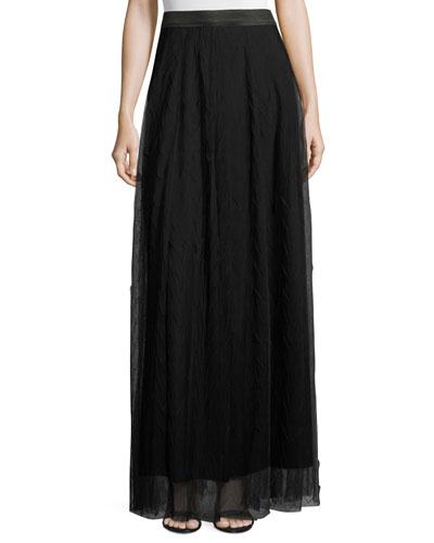 Zigzag Tulle Maxi Skirt, Black Onyx