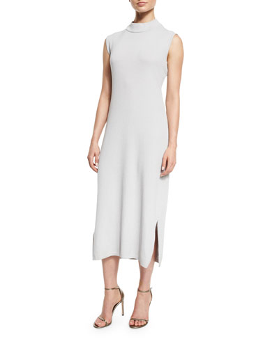 Sleeveless Wool-Blend Long Dress, Lunar Rock