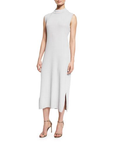 Sleeveless Wool-Blend Long Dress, Lunar Rock