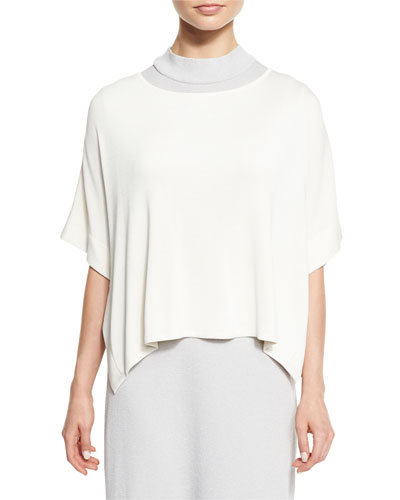 Short-Sleeve Silky Tunic, White