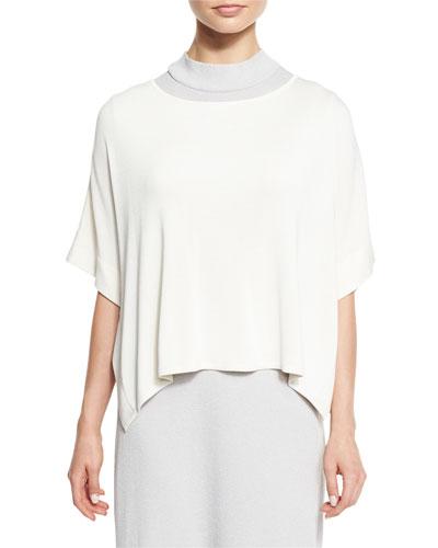 Short-Sleeve Silky Tunic, White, Petite