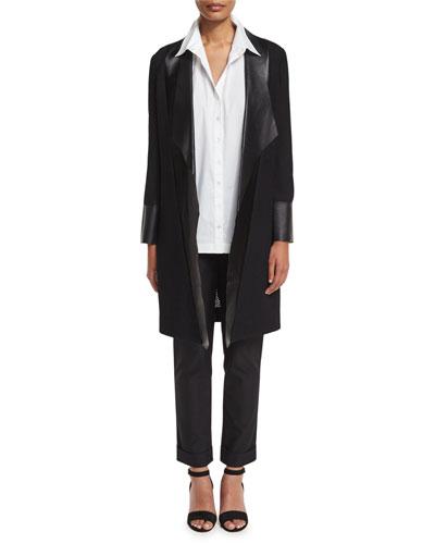 Long Leather-Trim Jacket, Black
