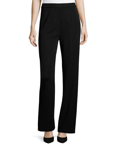 Mid-Rise Wide-Leg Pants, Black, Petite