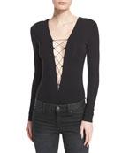 Long-Sleeve Lace-Up Jersey Bodysuit, Wine