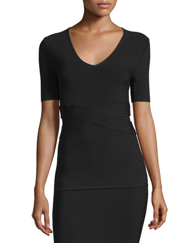 Short-Sleeve Ribbed Banded Top, Black