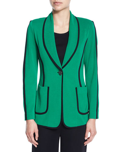 Modern Piped One-Button Jacket, Plus Size