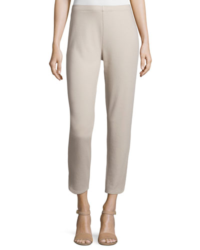 Ponte Ankle Pants, Taupe, Petite