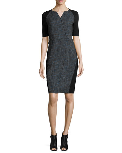 Tinsley Half-Sleeve Colorblocked Tweed Sheath Dress, Black/Blue