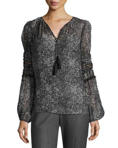 Joanne Tasseled V-Neck Floral-Print Blouse, Black
