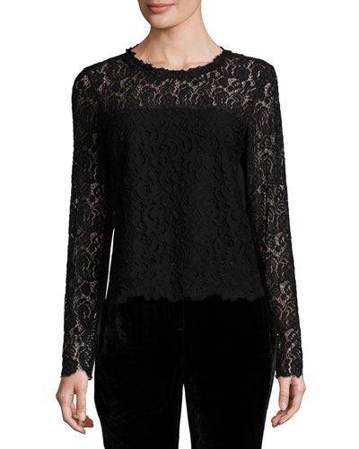 Corbel Long-Sleeve Lace Blouse, Aubergine/Black