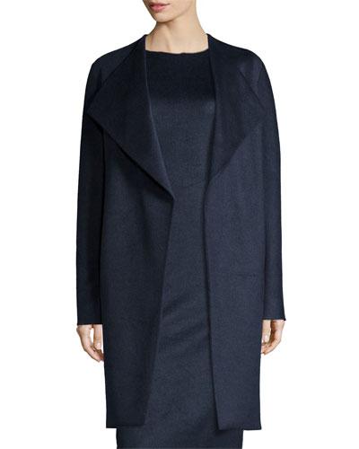 Dez Oversized Tie-Waist Stretch-Wool Coat, Night
