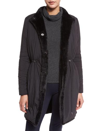 Berit Reversible Faux-Fur Trimmed Coat