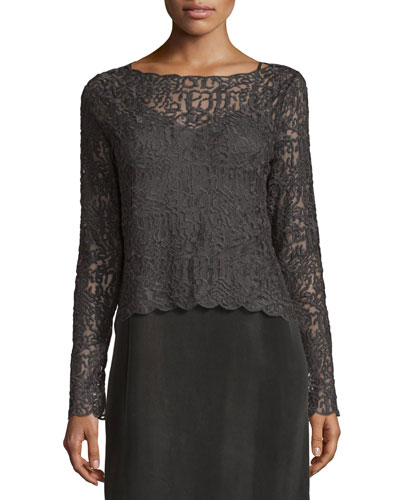 Brushed Lace Long-Sleeve Top, Petite