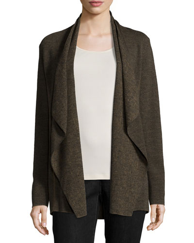 Fine Merino Birdseye Angle-Front Jacket, Caper, Plus Size