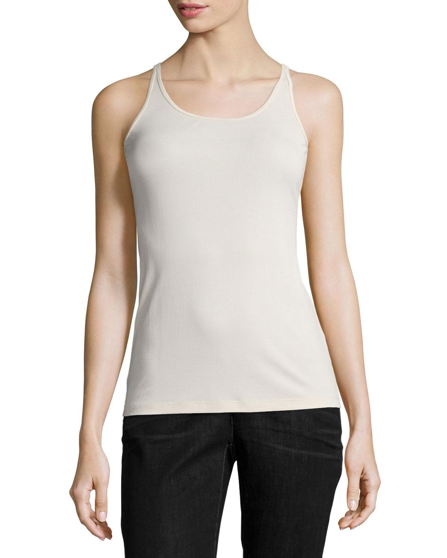 Stretch Silk Long Cami, Bone, Plus Size