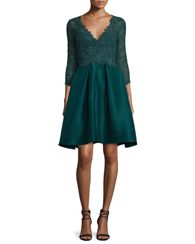 Lace 3/4-Sleeve Cocktail Dress, Forest Green