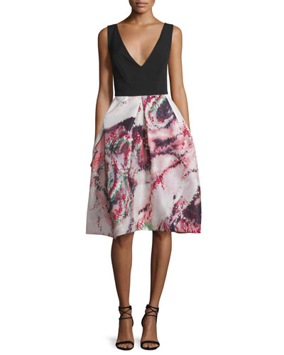 Floral Sleeveless V-Neck Cocktail Dress, Noir/Cherry
