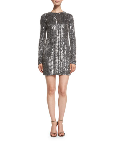 Sequined Long-Sleeve Mini Dress, Noir